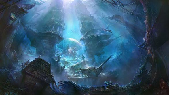 Обои Русалка в подводном мире