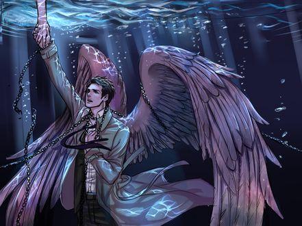 Обои Castiel / Кастиэль из аниме Сверхъестественное / Supernatural The Animation под водой