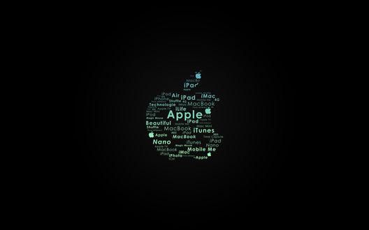 Обои Логотип Apple на черном фоне