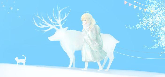 Обои Девочка, олень и кошка идут по снегу, художник Milkuro