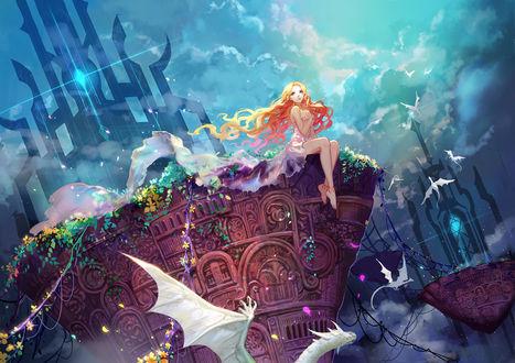 Обои Девушка в длинном развевающемся платье сидит на большом сооружении в небе