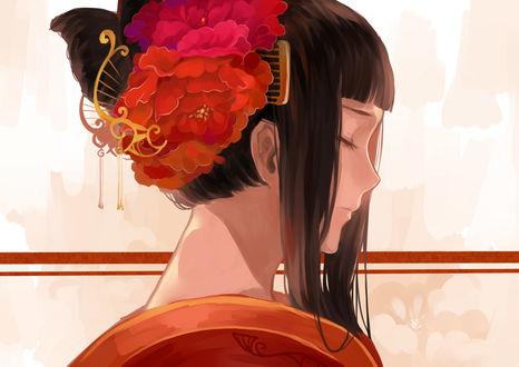 Обои Профиль девушки, одетой в кимоно и с цветами в волосах