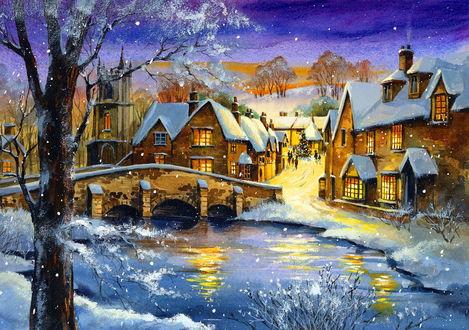 Обои Картина, на которой изображен маленький город у реки зимой, люди гуляют возле украшенной елки
