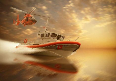 Обои Необычное соревнование (кто быстрее придет) между морским, небольшим катером, несущимся по морским просторам на огромной скорости и спортивным вертолетом, летящим в небе, озаренном полуденным солнцем, фотография Artur Brandys