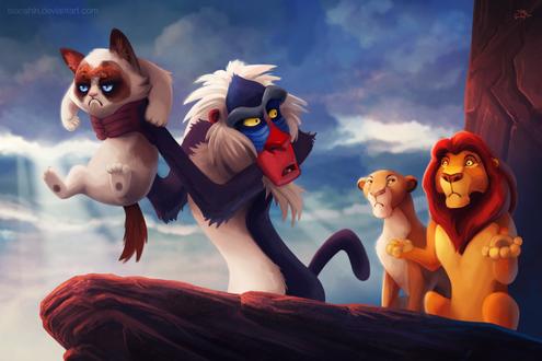 Обои Рафики держит в лапах Грустного кота / Grumpy cat, сзади стоят Муфаса и Сараби, пародия на мультик Король лев / The Lion King, художница tsaoshin
