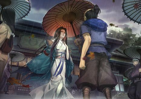 Обои Парень накрывает девушку зонтом, защищая от дождя, художник Liduke
