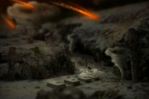 Обои Убегающие люди от монстра в небольшом каньоне, окруженном смерчами и надгробиями с крестами под падающими с неба метеорами