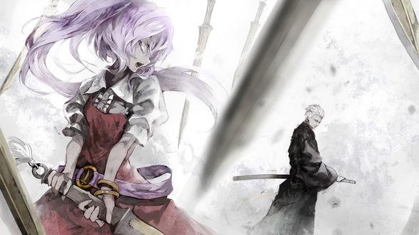 Обои Ватацуки но Ёрихиме / Watatsuki no Yorihime из игры Tohou Project / Проект Восток и Vergil / Вергилий из игры Devil May Cry