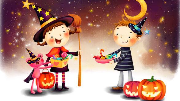 Обои Мальчик в шляпе дарит сладости девочке в костюме ведьмы, рядом светильники Джека / Jack Light на фоне звездного неба