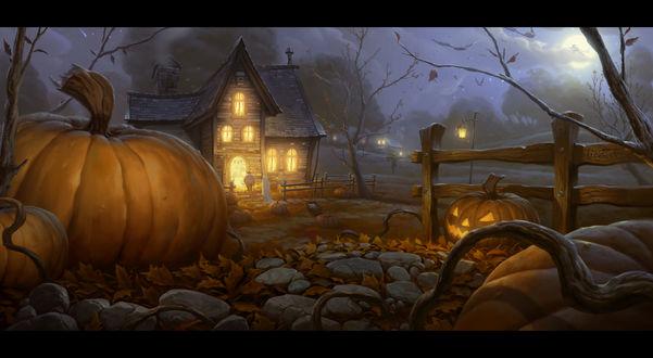 Обои Недалеко от дома расположен забор, возле которого лежат светильники Джека / Jack Light, Halloween / Хэллоуин