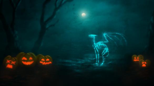 Обои Костлявый дракон, освещенный лунным светом, в окружении светильников Джека / Jack Light, и голых деревьев в Halloween / Хэллоуин