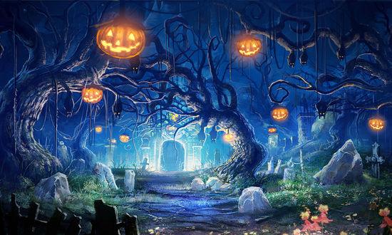 Обои На деревьях посреди кладбища висят светильники Джека / Jack Light в Halloween / Хэллоуин