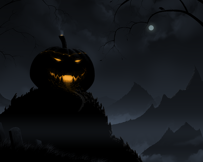 Обои Огромный светящийся светильник Джека / Jack Light в Halloween / Хэллоуин на горе ночью