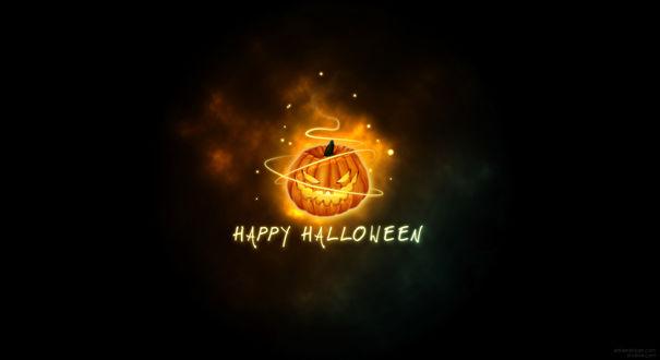 Обои Светильник Джека / Jack Light в языках пламени (Happy Halloween / Счастливого Хэллоуина)