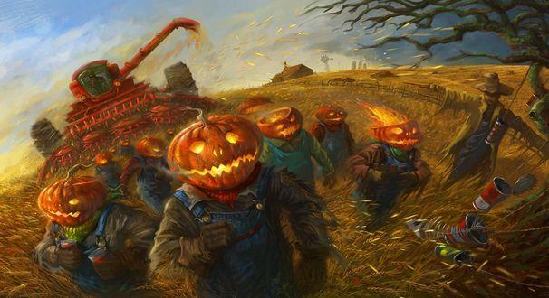 Обои Крестьяне с светящимися светильниками Джека / Jack Light бредут по полю в Halloween / Хэллоуин на фоне красного рабочего зерноуборочного комбаина