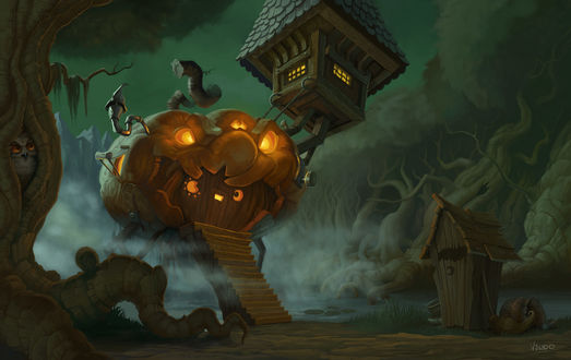 Обои В мрачном лесу на болоте, возвышаясь над туманом, стоит зловещий домик в виде ссветильника Джека / Jack Light и с деревянными пристройками