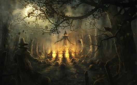 Обои Маленькие дети водят хоровод вокруг пугала из сена, с головой в виде светильника Джека / Jack Light, Halloween / Хэллоуин
