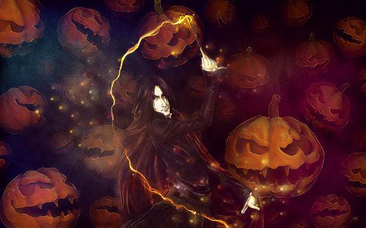 Обои Колдун с волшебной палочкой в руках на фоне светильников Джека / Jack Light в Хэллоуин / Halloween