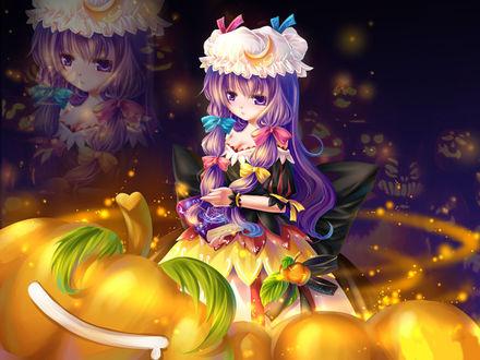 Обои Аниме девушка с фиолетовыми волосами и белом чепце с разноцветными бантами среди светильниками Джека / Jack Light в Хэллоуин / Halloween
