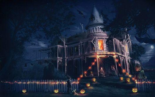 Обои Старый дом в паутине украшен светильниками Джека / Jack Light в Хэллоуин / Halloween