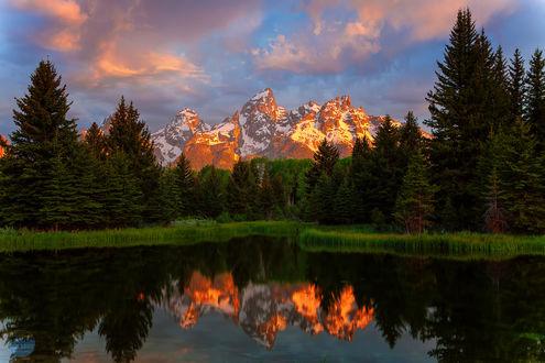 Обои Лучи заходящего солнца окрашивают золотом ледяные склоны горного хребта, еловый лес и вершины гор красиво отражаются на водной глади горного озера, Национальный Парк Гранд Титон, штат Вайоминг, США / Grand Teton National Park, Wyoming (WY), USA