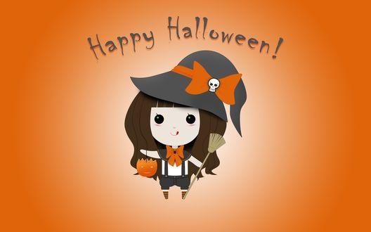 Обои Маленькая ведьма с метлой в одной руке и светильником Джека / Jack Light в другой (Happy Halloween! / Счастливого Хэллоуина!)