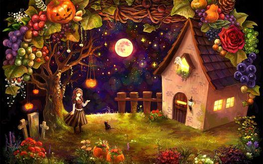 Обои Девочка с черным котенком стоит у дерева, на котором висит светильник Джека / Jack Light и растут разные ягоды и фрукты, перед ним небольшой домик, из которого вылетает призрак, на небе звезды и полная луна
