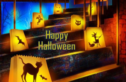 Обои Лестница в доме украшена светящимися пакетами с изображениями на Хеллоуин / Halloween (Счастливого Хеллоуна / Happy Halloween)
