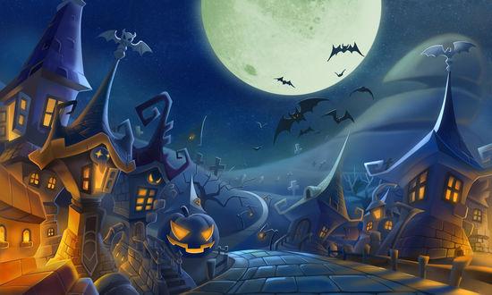 Обои Дорога на кладбище в маленьком городе с домами с острыми крышами, у края дороги лежит светильник Джека / Jack Light, а в ночном небе кружат летучие мыши