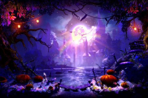 Обои Огромная луна освещает зловещий замок и озеро, возле его берегов растут гигантские тыквы, а на деревьях висят фонари