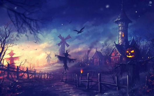 Обои Пугала-светильники Джека / Jack Light в заброшенном поле у старой деревени в Halloween / Хэллоуин