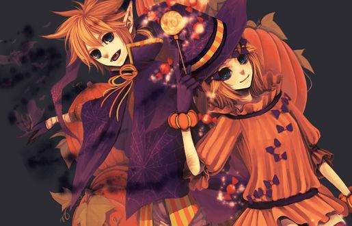 Обои Вокалоиды Рин и Лен Кагамине / Vocaloid Rin & Len Kagamine в Хэллоуин / Halloween