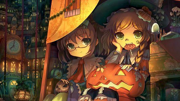 Обои Kirisame Marisa / Кирисамэ Мариса с конфетой в зубах и светильником Джека / Jack Light на коленках, возле которой сидит Alice Margatroid / Элис Маргатроид с игры Touhou Project