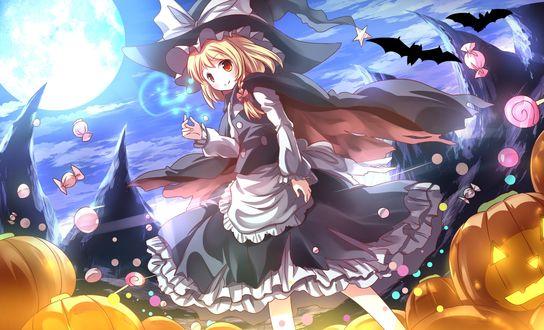 Обои Marisa Kirisame / Мариса Кирисаме в наряде ведьмы, из серии компьютерных игр Тохо / Touhou Project, возле ее ног светильники Джека / Jack Light, повсюду летают конфеты, художник Risutaru