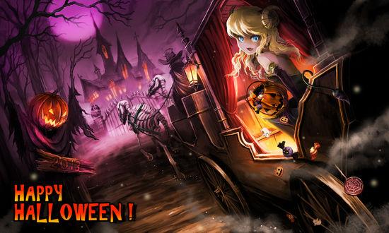 Обои Голубоглазая демонесса едет в карете запряженной скелетами лошадей к мрачному особняку, в руках у нее корзинка со сладостями (Happy Halloween!), художник Ume (illegal bible)