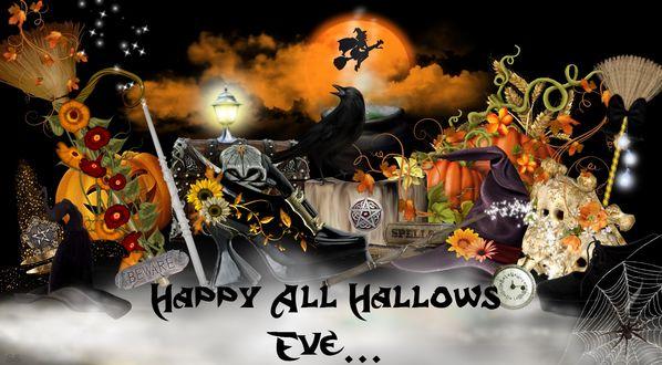 Обои Черный ворон сидит в окружении колдовских предметов на фоне полной луны и ведьмы на метле (HAPPY ALL HALLOWS EVE)