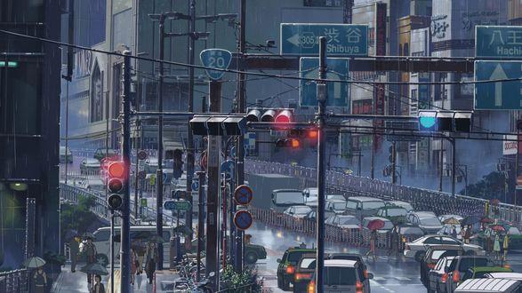 Обои Людная улица из аниме Сад слов / The Garden of Words, работы Макото Синкая / Makoto Shinkai