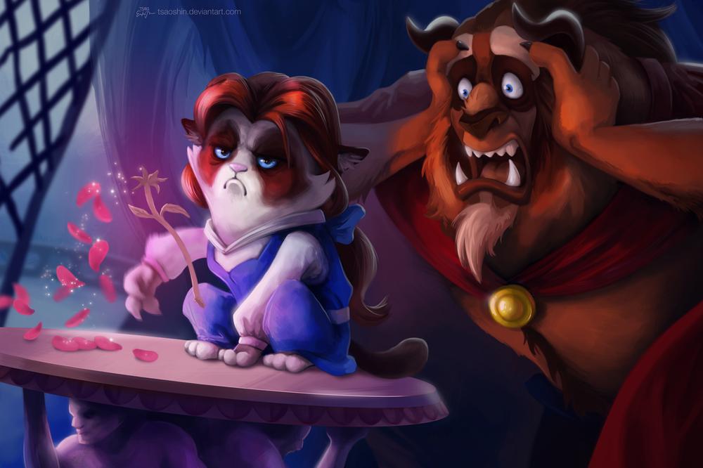 Обои для рабочего стола Грустная кошка / Grumpy cat в роли Белль из мультфильма Красавица и Чудовище / Beauty and the Beast, рвет розу, сзади стоит чудовище, схватившись на лицо, художница tsaoshin