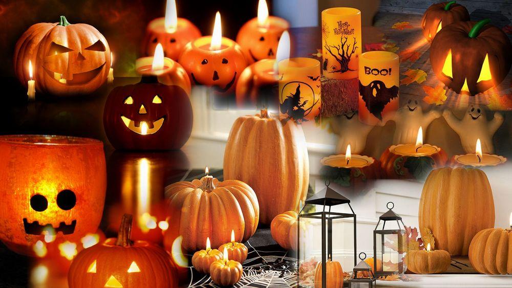 Обои для рабочего стола Коллаж с изображением свечей, тыкв и светильников Джека / Jack Light на Halloween / Хэллоуин