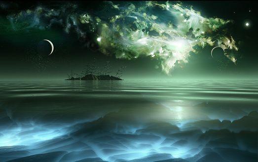 Обои Остров по среди океана
