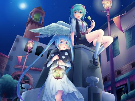 Обои Vocaloid Hatsune Miku & Gumi Megpoid / Вокалоиды Хатсуне Мику и Гуми Мегпоид