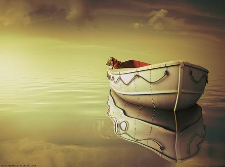 Обои Тигр Ричард Паркер / Richard Parker сидит в лодке посреди моря, арт на фильм Жизнь Пи / Life of Pi, художник abdelrahman