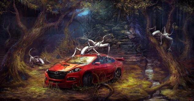 Обои Брошенный в густом лесу красный Додж / Dodge, окружили четырехлапые роботы