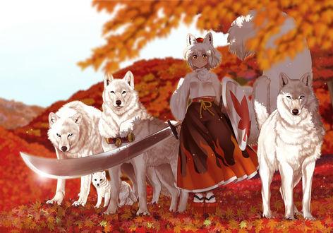 Обои Inubashiri Momiji / Момидзи из игры Проект Восток / Touhou Project с мечом в руке стоит рядом с тремя белыми волками и волченком