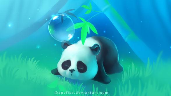 Обои Маленький панда спит лежа на траве под зеленой веточкой бамбука, над ним летает пузырь, art by Apofiss