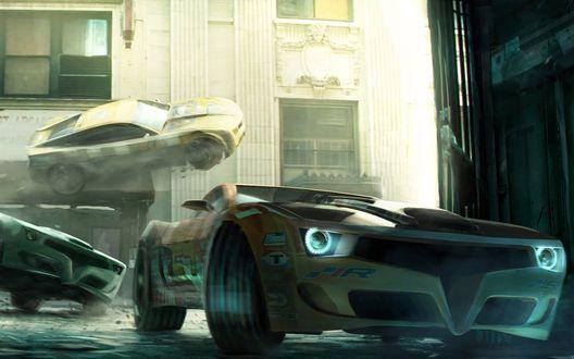 Обои Спортивные автомобили на бешенной скорости входят в поворот на узкой городской улочке, игра Split Second
