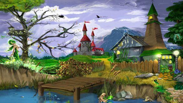 Обои Жители сказочной страны. Над замком пролетает ведьма на метле, в пруду возле домика живут русалки