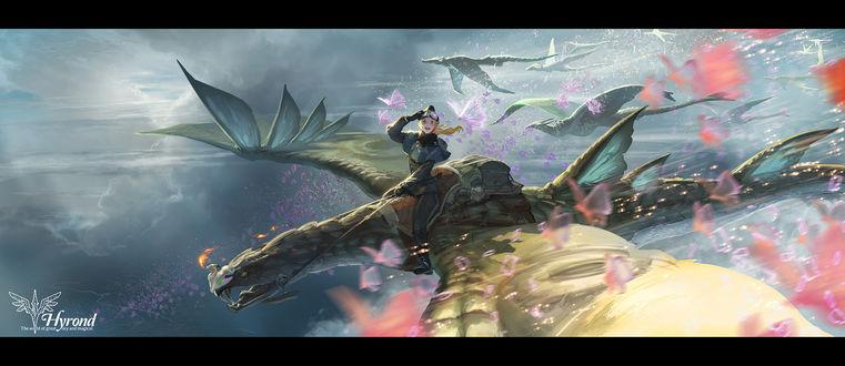 Обои Девушка летит, сидя верхом на драконе, художник Yuuki Youichi