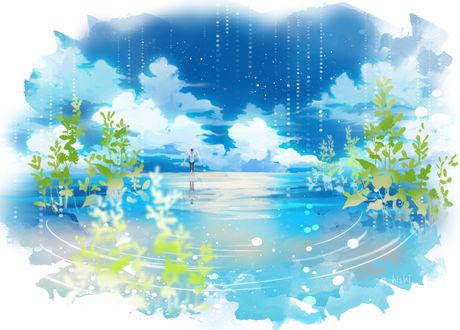 Обои Ангел стоит на поверхности воды на фоне неба, художник Hishi