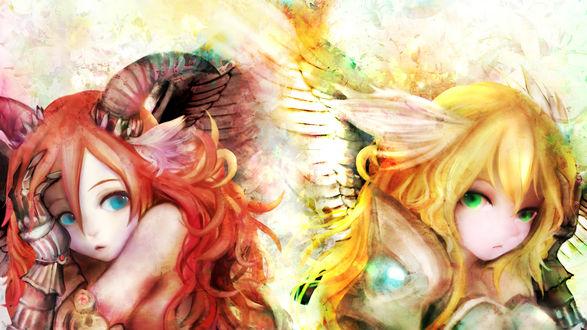 Обои Две девушки- ангел и демон, художник Zhang Xiao Bo